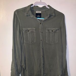 American Eagle button down (olive and pink)